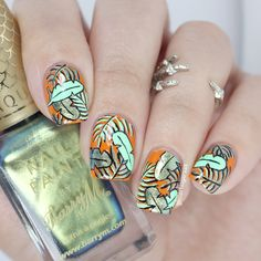 Tropical palm nail art My Instagram: http://instagram.com/glitterfingersss My…
