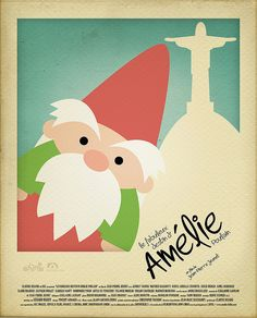 Amelie (Le Fabuleux Destin d'Amelie Poulain) by Rafael Muller -- Try making a simplified or modernized poster for one of your favorite movies! Minimal Movie Posters, Cinema Posters, Cool Posters, Film Posters, Amelie, Traveling Gnome, Movie Co, Audrey Tautou, Alternative Movie Posters