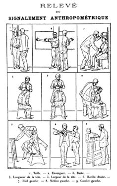 Alphonse Bertillon Anthropometry: system used by police to identify criminals. Includes: Descriptive data, body marks, 11 body measurements.