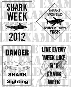 PDF: Set of 4 Shark Week Party Signs  Customized by luminousmoon, $10.00
