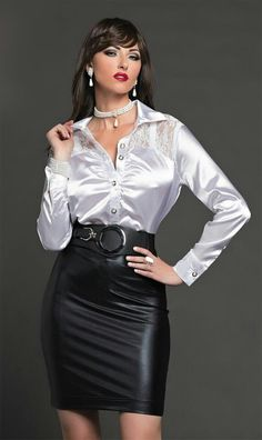 White Satin Blouse & Black leather skirt