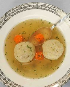 "For a hearty lunch or dinner, make this Passover holiday classic with a twist—no meat!—with this family recipe from Jonathan Safran Foer, author of ""New American Haggadah. Matzo Ball Soup Recipe Vegetarian, Vegetarian Recipes, Matzoh Ball Soup Recipe, Passover Recipes, Jewish Recipes, Passover Menu, Israeli Recipes, Soup Recipes, Cooking Recipes"
