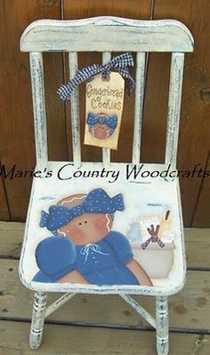 Gingerbread chair Love it! Hand Painted Chairs, Painted Stools, Hand Painted Furniture, Paint Furniture, Cute Paintings, Country Paintings, Primitive Crafts, Wood Crafts, Gingerbread Crafts