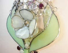 Pale mint green flower with white Oceana mottled art glass.