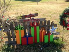 LARGE WOOD CHRISTMAS PRESENT YARD ART | Remember the fall yard art? I switch out pumpkins for gifts.                                                                                                                                                                                 More