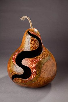 I have always been drawn to the natural world for inspiration. My fascination with gourds has been my most recent passion. Gourds, with their earthiness and almost infinite variety of shape and form,communicate to me and I listen… Decorative Gourds, Hand Painted Gourds, Decorative Crafts, Mn Artists, Gourds Birdhouse, Tableau Design, Gourd Lamp, Keramik Vase, Wood Burning Art