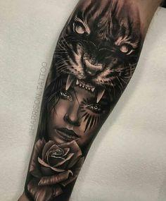 Tattoo Old School Chest - Lion Tattoo Triangle - Tattoo Ideen Kindernamen - Tattoo Old School Preto - Tattoo Minimaliste Lune Forarm Tattoos, Leg Tattoos, Body Art Tattoos, Sleeve Tattoos, Cool Tattoos, Animal Sleeve Tattoo, Tatoos, Tiger Tattoo, Tattoos For Women