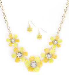 Look at this #zulilyfind! Yellow Two Tone Flower Bib Necklace & Earring Set by Fantasy World Jewelry #zulilyfinds