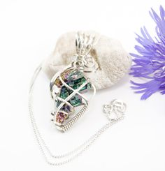 Green bismuth crystal pendant necklace  by FeathersnThingz on Etsy