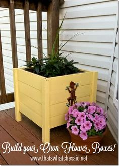 Make the perfect DIY Flower Planter Boxes for your porch or deck! Planter Box Plans, Diy Planter Box, Wooden Planters, Diy Planters, Wooden Flower Boxes, Diy Flower Boxes, Diy Flowers, Ana White, Retro Home Decor