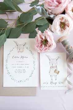 Bunny birthday invitations