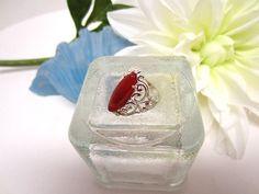Sterling Silver Ring Carnelian Stone Ornate Hand Set