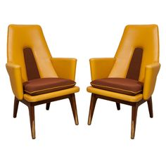 Pair of modernist 60's armchairs by Boling Chair Co.