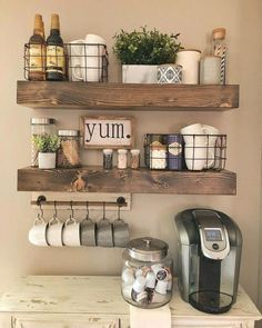Wooden Shelves - - Display your style with this set of true floating shelves. The shelves come with brackets that are invisible when installed. They are made in the USA with high-grade pine. Each piece is its own creation with rustic character. Farmhouse Kitchen Decor, Kitchen Dining, Farmhouse Design, Kitchen Shelf Decor, Coffee Theme Kitchen, Coffee Station Kitchen, Small Kitchen Organization, Wooden Shelves Kitchen, Antique Kitchen Decor