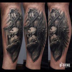 "@evgeniy_goryachiy's photo: ""#tattoo #tattooartist #ink #inked #blackandgrey #blackinkmag #angel #fallenangel #religion #cross #church @tattoos_alday @redberrytattoostudio #wroclaw #poland #ugenetattoo #ugene #realistic"""
