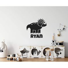 Childrens Personalised Name Dinosaur Wall Sticker Boys Wall Stickers, Personalised Wall Stickers, Wall Stickers Quotes, Personalized Wall Art, Dinosaur Wall Decals, Room Paint, Colours, Cupboards, Choices