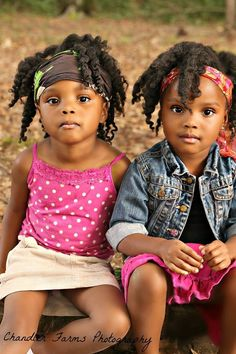 Awww twins. To learn how to grow your hair longer click here - http://blackhair.cc/1jSY2ux