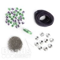 Get making some really unique and stunning leather bracelets! Buy this brilliant, discounted Leather and Crystal Bracelet Kit in Green and Purple to start making your leather designs, or why not use the contents to add to your bead supply!