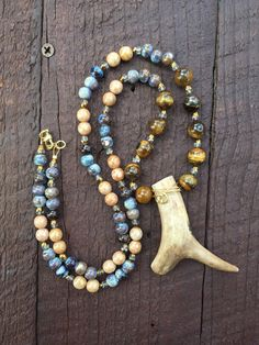 Deer Antler Necklace Beaded by RoxEllynRedesigns on Etsy