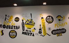 Fun illustrated mural  - El Cartucho by Raul Gomez