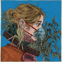 urban facemask gardening | artist: kit layfield Colossal Art, Illustration, Pop Surrealism, Cute Faces, Cool Art, Instagram, Kit, Drawings, Artwork