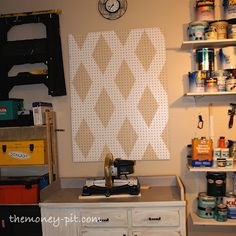 Painted pegboard over my workbench. **Done** #TheKimSixFix
