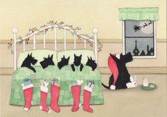 Scottish Terrier Scottie Family Waits for Santa on Christmas Eve Lynch Print | eBay