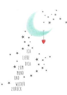 Ich liebe Dich bis zum Mond und...Kunsdruck