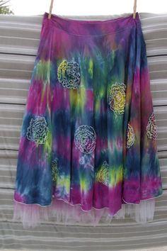 Upcycled Tie Dyed Bohemian Goddess Skirt by lottisunshyne on Etsy
