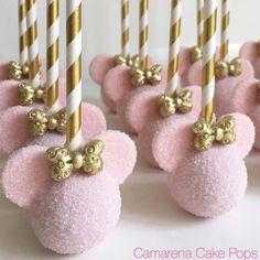 """434 Likes, 15 Comments - Dee Camarena (@camarenacakepops) on Instagram: """"Minnie Theme #cakepops #cakebites #pops #cakepop #goldbows #pinkgold #minnietreats #mickeyears…"""""""