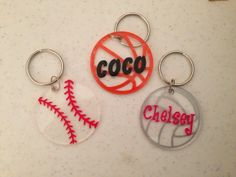 "2"" Round Acrylic Sports Keychains-Baseball, Basketball, Volleyball, Soccer, Etc... on Etsy, $5.00"
