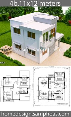 House Design Plans with 4 bedrooms - Home Ideassearch Small House Floor Plans, Simple House Plans, Home Design Floor Plans, Duplex House Plans, Simple House Design, House Front Design, Dream House Plans, Modern House Design, Double House