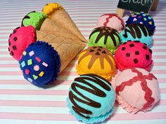 Handmade Felt Ice Cream Set B Tropical Flavors. 2 cones&6