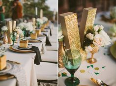 Emerald green and gold tabletop inspiration