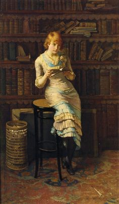 "In an old library, a young Victorian woman in a ruffled yellow and blue dress pauses to reflect on her reading. ""Thoughts"" painted in 1883 by John Henry Henshall. The Athenaeum"