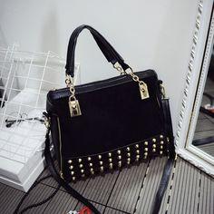 $14.82 (Buy here: https://alitems.com/g/1e8d114494ebda23ff8b16525dc3e8/?i=5&ulp=https%3A%2F%2Fwww.aliexpress.com%2Fitem%2FFashion-Pure-Brand-Women-Leather-Handbag-Vintage-Zipper-Rivet-Single-Shoulder-Bags-Messager-Handbags%2F32594620776.html ) 2016 Fashion Women Handbags Nubuck Leather Brand Rivet Bag Lady Hand Bag Women Messenger Bag Female Crossbody Shoulder bag Bolsa for just $14.82