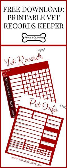 Free Printable Vet Records Keeper | DIY Dog Health Records | Organization Tips |