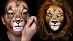 """Learn how to create an Amazing Realistic Lion Makeup look by watching this video tutorial. Inspired by the """"Lion King"""" (Makeup Scar Lion King) movie and wild..."""
