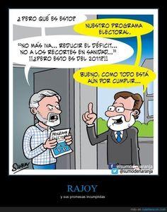 RAJOY - y sus promesas incumplidas   Gracias a http://www.cuantarazon.com/   Si quieres leer la noticia completa visita: http://www.estoy-aburrido.com/rajoy-y-sus-promesas-incumplidas/