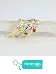 Genuine Handmade Gemstone Metal Stacking Rings Set in Green Tourmaline, Pink Tourmaline, Blue Sapphire, White Opal, Milky Aquamarine or London Blue Topaz Handcrafted Real from NADEAN DESIGNS handmade jewelry https://www.amazon.com/dp/B06VY6F6S8/ref=hnd_sw_r_pi_dp_QHkTyb0SRKADE #handmadeatamazon