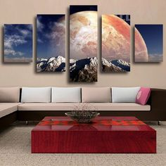Snowy Mountains Overlooking Jupiter Painting - 5 Piece Canvas #prints #prntable #painting #canvas #empireprints #teepeat