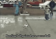 Bowling ball painted as a soccer ball