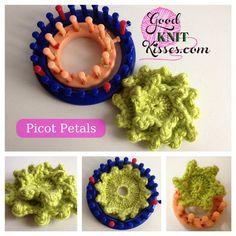 GoodKnit Kisses: loom knit picot flower