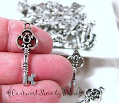 Antique Silver Fancy Filigree Skeleton Key Charm Pendant - 5 - pinned by pin4etsy.com