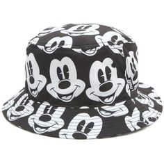 Neff Mickey Bucket Hat ($32) ❤ liked on Polyvore featuring men's fashion, men's accessories, men's hats, hats, accessories, bucket hats, black and men's brimmed hats