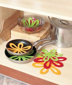 Avoid scratches and other damage caused by stacking kitchenware with this Set of 14 Felt Pan Separators. Large and small felt separators come in multiple colors Cooking Supplies, Kitchen Supplies, Cooking Tools, Rolling Storage Bins, Splatter Screens, Lid Organizer, Cabinet Organizers, Cabinet Storage, Pots And Pans Sets
