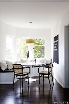 Great curved window seat for a breakfast nook