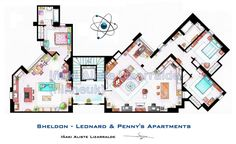 .  This is the floorplan of Sheldon Cooper, Leonard Hofstadter and Pennys Apartments from the show The Big Bang Theory. .  This is a hand
