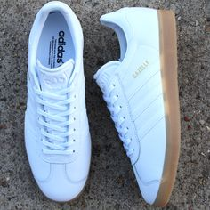 buy cheap 7f867 77b1a The white leather adidas Gazelle crafted from a fresh leather with classic  gum sole. A