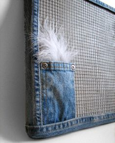 Magnet Message Board Office Room Decor Denim Upcycled by Tanja Sova on Etsy, $65.00